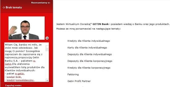 Adam na stronie Getinbanku