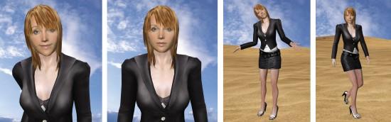 Przykładowe sceny z wirtualnym aktorem wygenerowane za pomocą Reallusion iClone 3 Pro. Program, dzięki akceleratorom graficznym umożliwia rendering animacji w czasie rzeczywistym na podstawie opisu geometrycznego postaci oraz hierarchicznego zapisu sekwencji ruchu